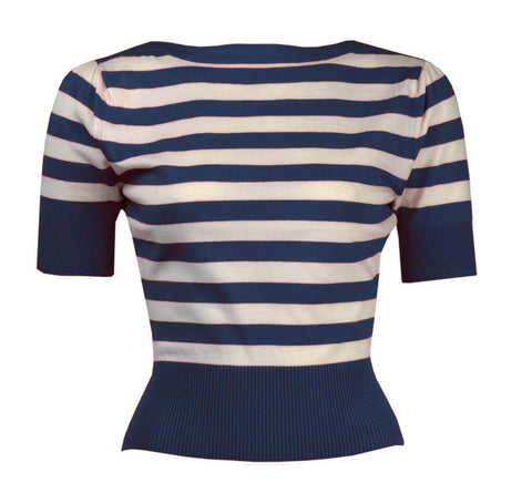 Pretty Retro Pin Up Stripe Sweater Blau