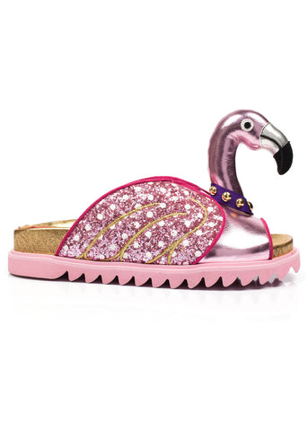 Irregular Choice Tesoro Mio Flamingo Slippers Rosa