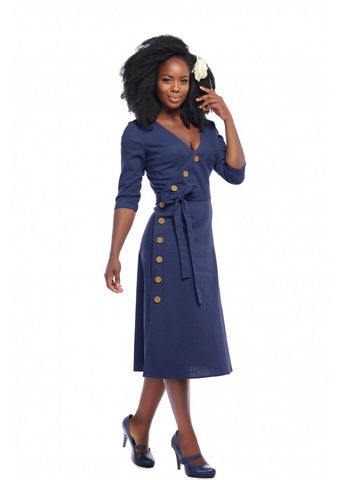 Collectif Susanna Nautical 60's Swingkleid Navy