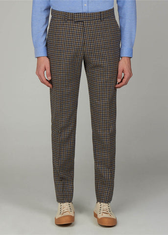 Gibson London Fred Gingham Hose Braun Blau