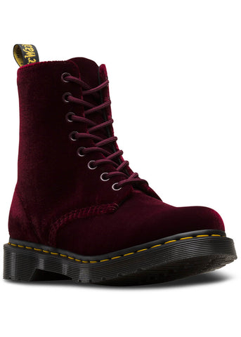 Dr. Martens 1460 Pascal Velvet Schnürstiefel Cherry Rot