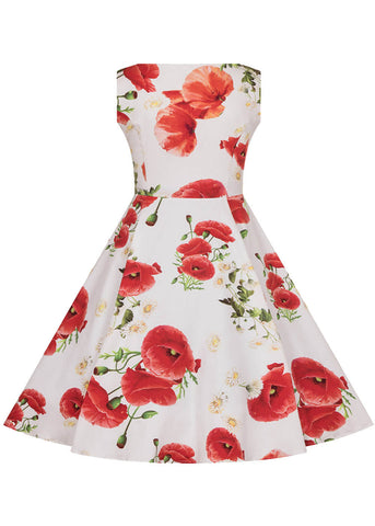 Hearts & Roses Kids Opium Poppy Floral 50's Swingkleid Weiß