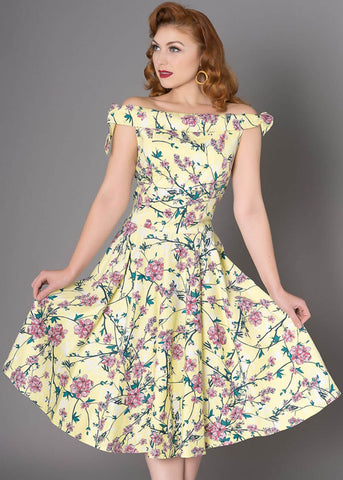 Sheen Zenith Floral 50's Swingkleid Gelb