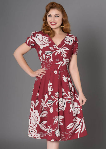 Sheen Kendra 50's Swingkleid Burgunder