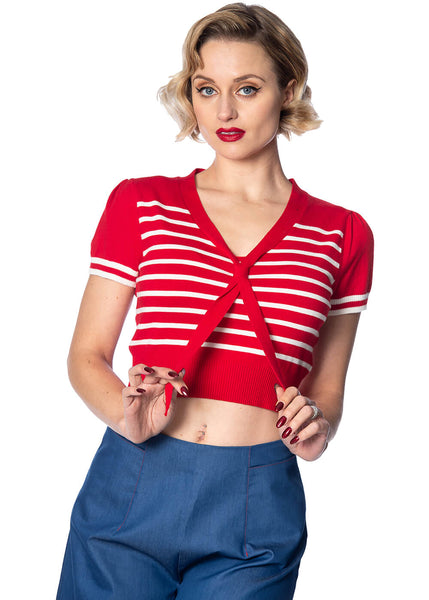 Banned Sailor Stripe Tie 50's Top Rot