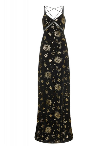 Bright & Beautiful Gigi Zodiac Velvet 70's Maxikleid Schwarz