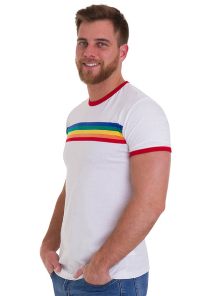 Run and Fly Rainbow Striped T-Shirt Weiß