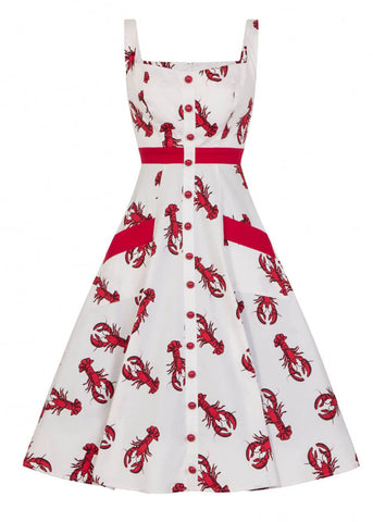 Collectif Sandrine Rock Lobster 50's Swing Kleid Weiß