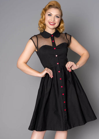 Sheen Valentina Heart 40's Swingkleid Schwarz
