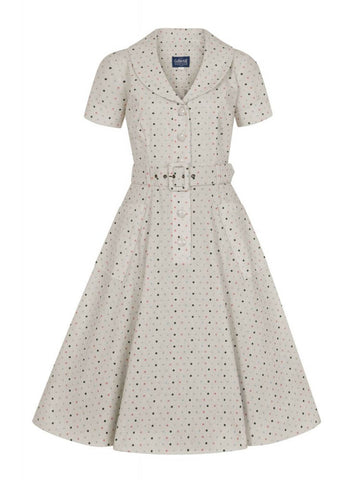 Collectif Brette Polkadot 50's Swingkleid Creme