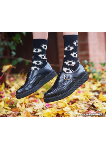 T.U.K Heren Pointed Leather Creepers Monk Buckle Schwarz
