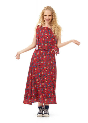 Bright & Beautiful Ali Tropical Floral 70's Kleid Rot