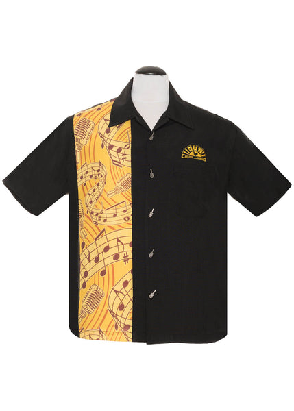 Steady Clothing Herren Sun Records Music Notes Shirt Schwarz