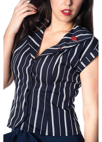 Banned Deckchair Stripe 50's Bluse Navy