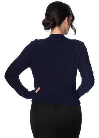Banned Midnight Daze 40's Cardigan Navyblau