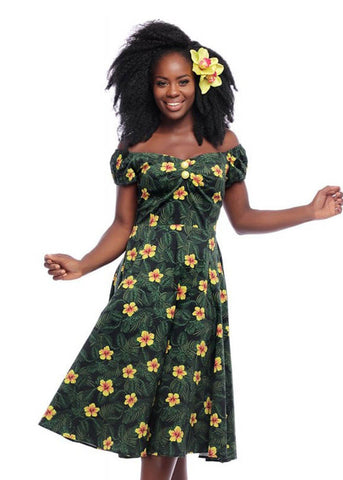 Collectif Dolores Tropical Hibiscus 50's Swingkleid Multi