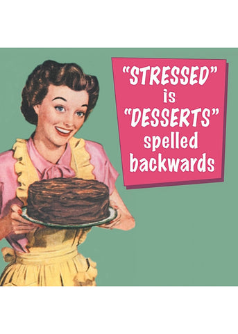 Retro Fun Untersetzer Stressed is Desserts