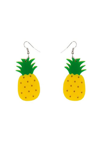 Collectif Pineapple Acrylic Drop Ohrringe Gelb