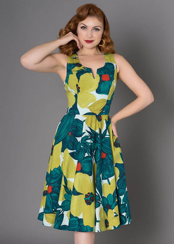Sheen Danni Floral Swingkleid Grün