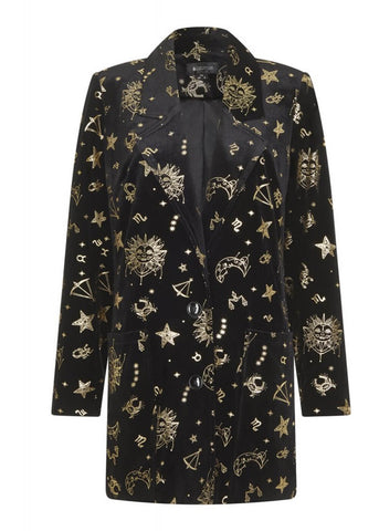 Bright & Beautiful Luna Zodiac Velvet 70's Jacke Schwarz