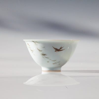 Jingdezhen Porcelain Tea Cup with Swallow