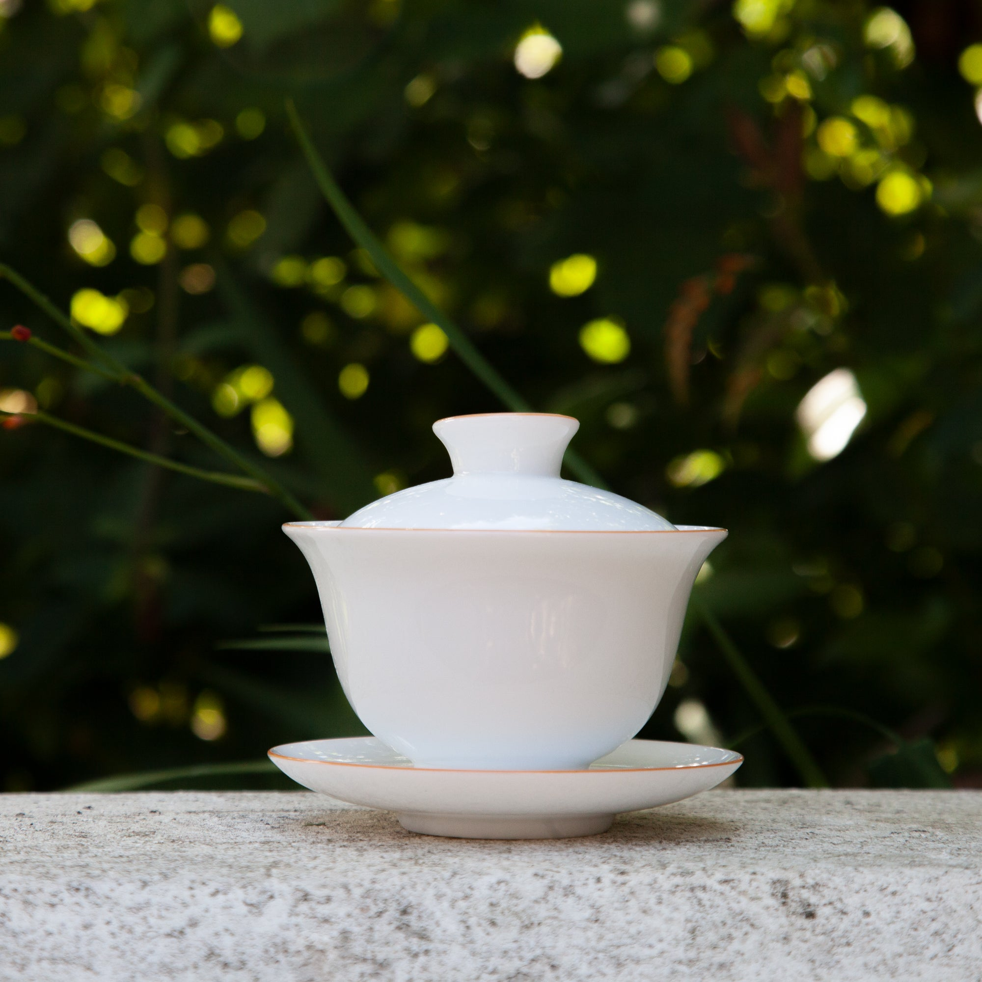 White Porcelain Gaiwan (Orange edge)