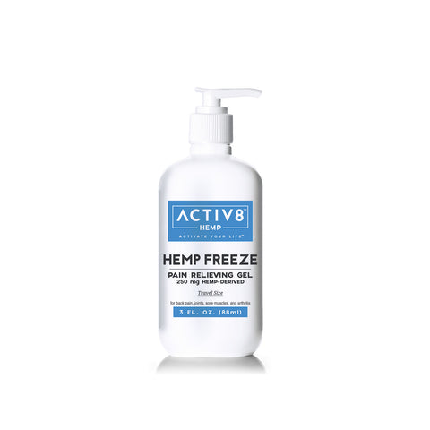 ACTIV8 HEMP FREEZE (Pain Relieving Gel | Extra Strength Formula) – 250mg & 650mg Per Bottle – For Back Pain, Sore Muscles, Joints & Arthritis