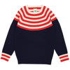 Bluza FUB lână merinos fine knit - Colour Navy/Red/Ecru-FUB-HipHip.ro