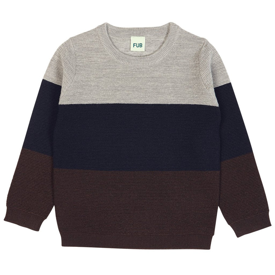 Bluza FUB lână merinos fine knit - Ottoman Brown/Navy/Light Grey-FUB-HipHip.ro