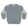 Cardigan FUB lână merinos fine knit - Patches Grey-FUB-HipHip.ro