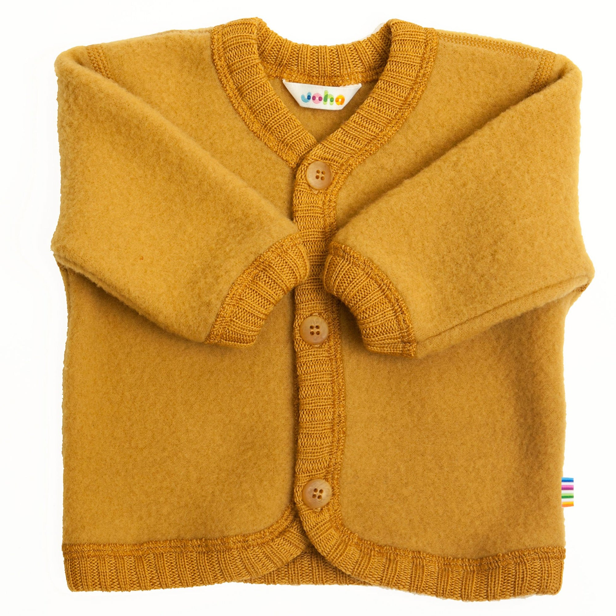 Cardigan Joha fleece lână merinos - Curry Yellow-Joha-HipHip.ro