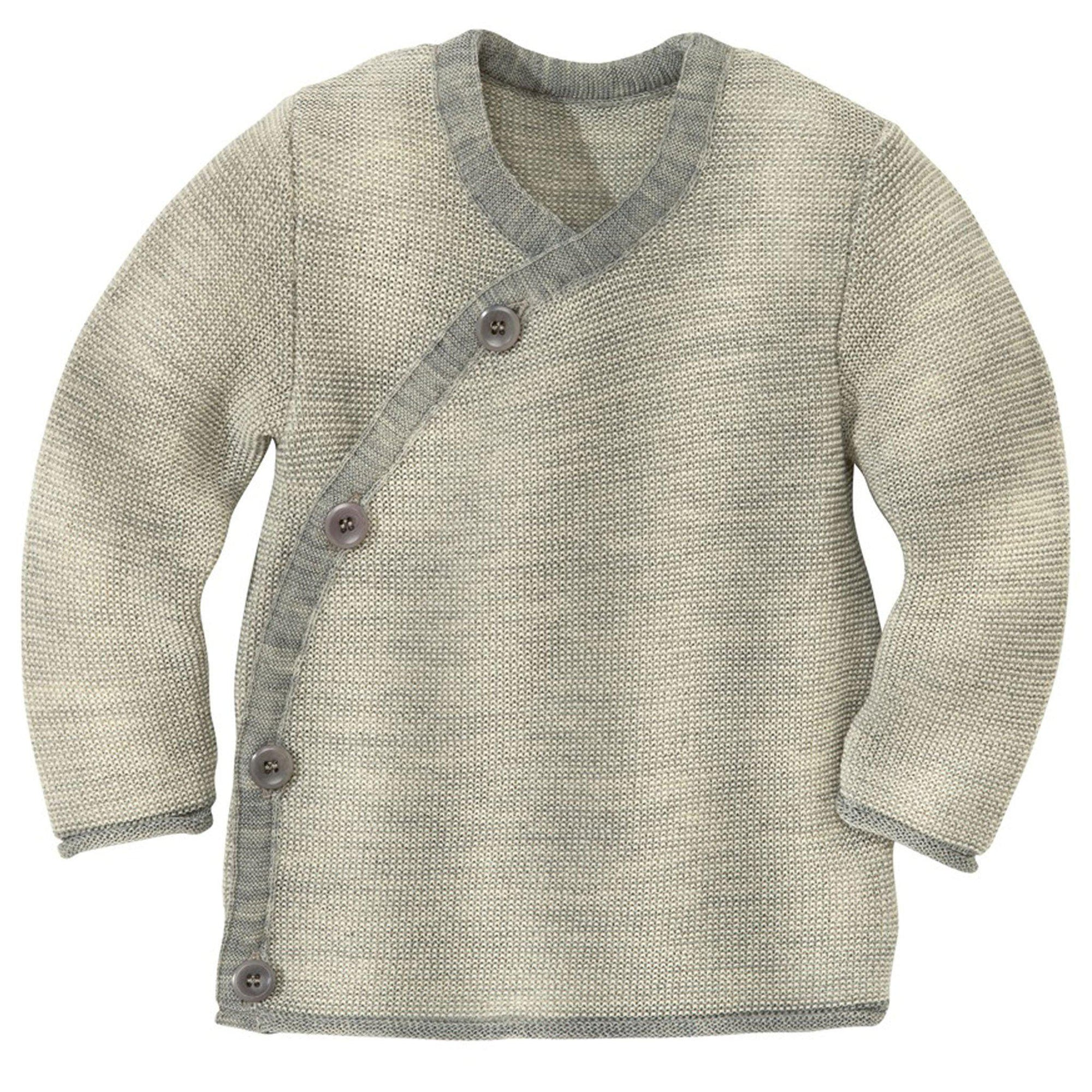 Cardigan kimono Disana lână merinos - Grey/Natural-Disana-HipHip.ro