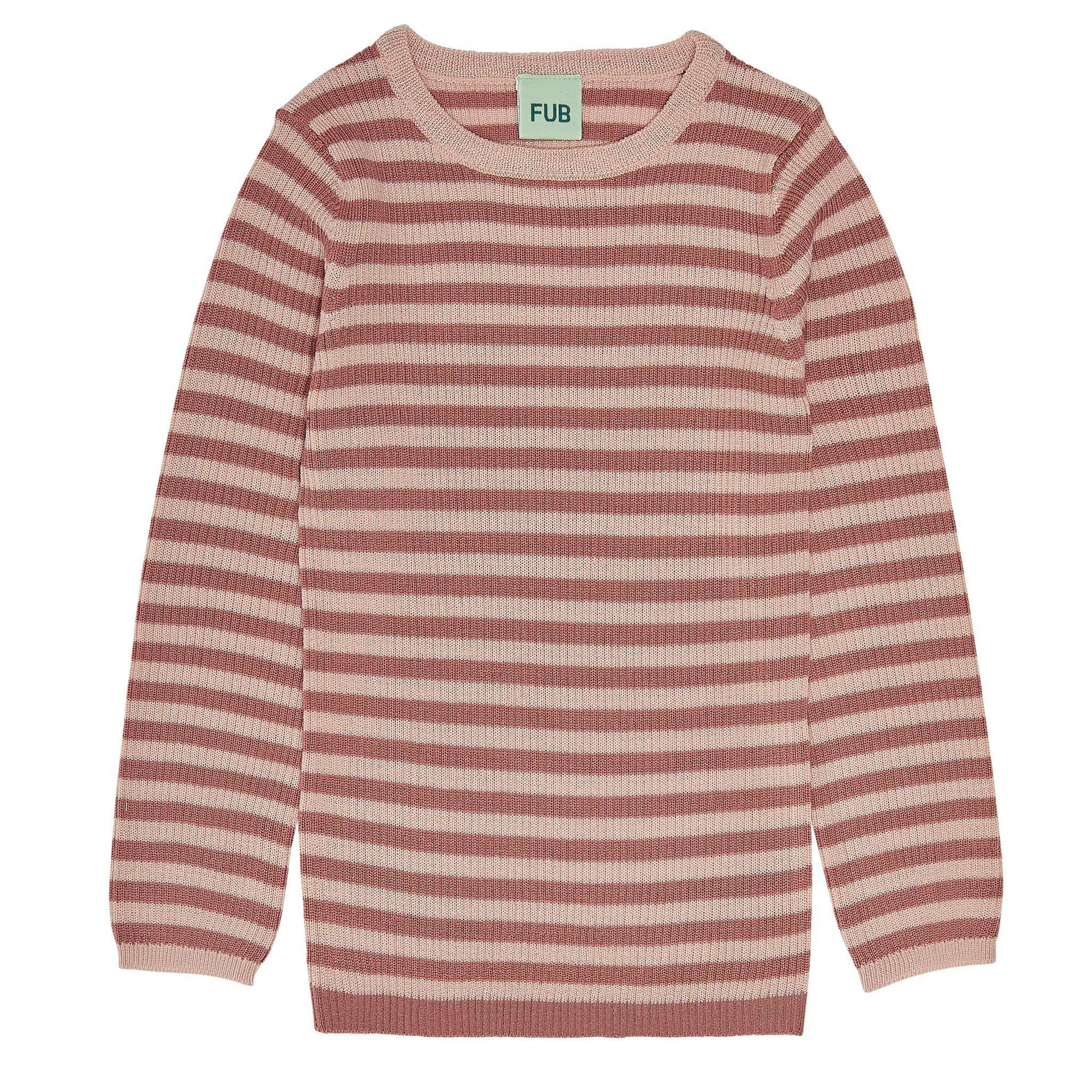Pulover FUB lână merinos extra fine knit - Striped Rib Coral/Pale Pink-FUB-HipHip.ro