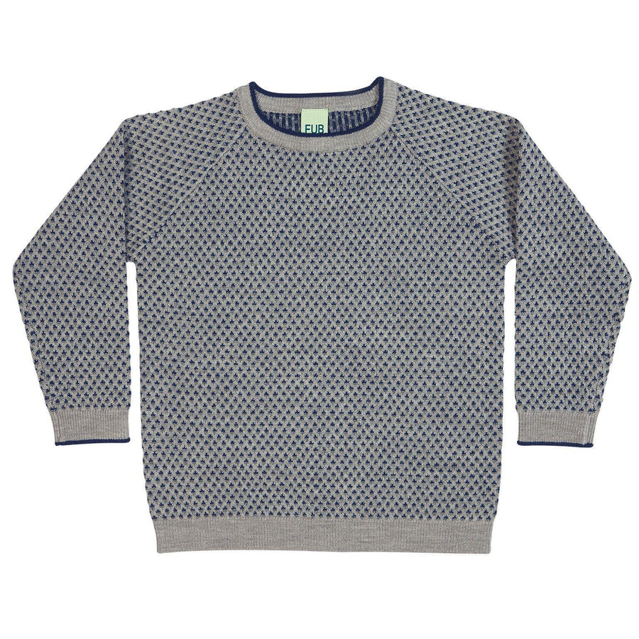 Pulover FUB lână merinos fine knit - Rhombus Light Grey/Grey/Dark Blue-FUB-HipHip.ro