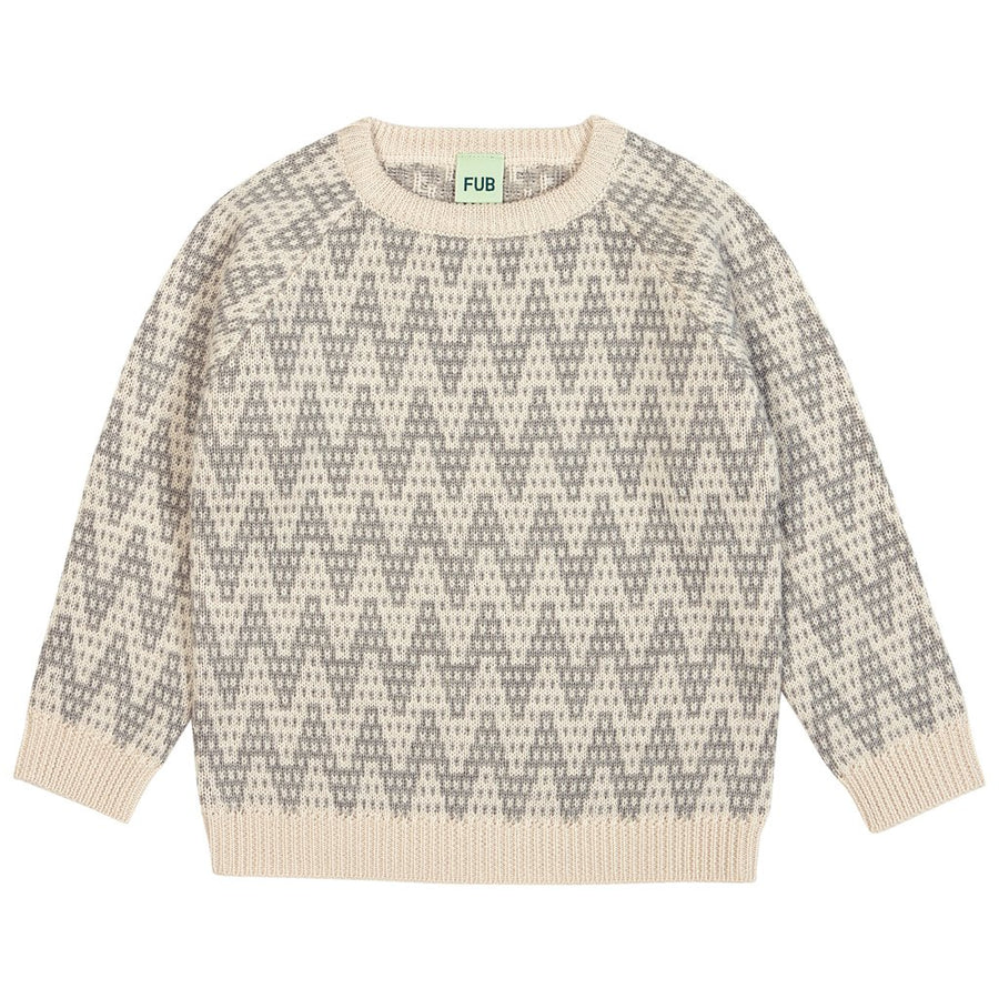 Pulover FUB lână merinos knit - Zigzag Ecru/Light Grey-FUB-HipHip.ro
