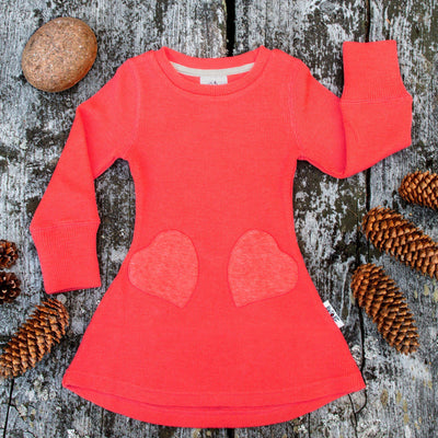 Rochie ManyMonths Unique Heart Pockets lână merinos - Precious Coral-ManyMonths-HipHip.ro