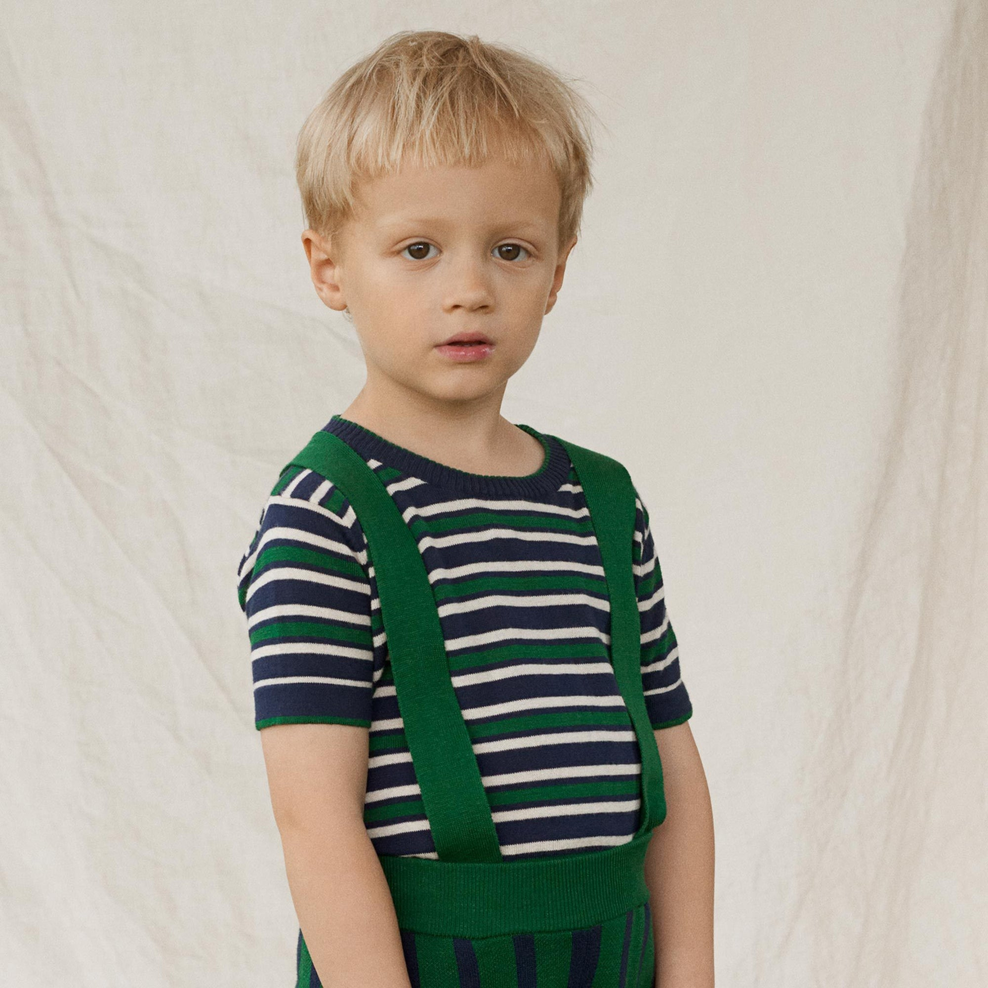 Tricou FUB bumbac organic extra fine knit - Striped Navy/Ecru/Forest-FUB-HipHip.ro