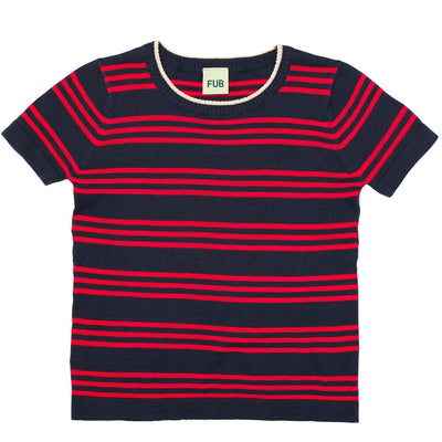 Tricou FUB bumbac organic extra fine knit - Striped Navy/Red-FUB-HipHip.ro