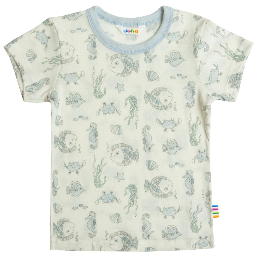Tricou Joha lână merinos - Sea Life Light Blue-Joha-HipHip.ro