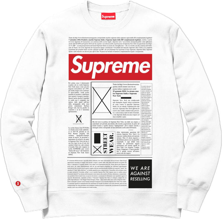 Supreme Spain - Sudadera Estampa Periodico - COLECCIÓN FALL/WINTER '19/'20