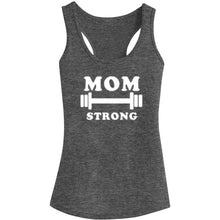 Load image into Gallery viewer, Womens Mom Strong Fitness Workout Racerback Tank Tops - Heathered Grey