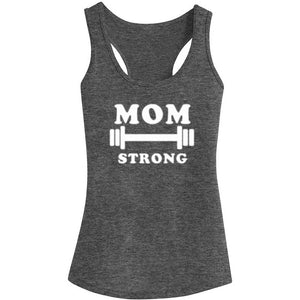 Womens Mom Strong Fitness Workout Racerback Tank Tops - Heathered Grey