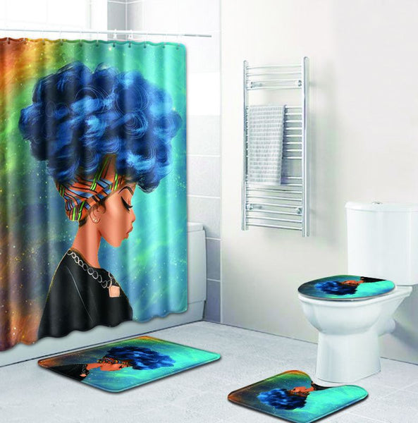 Afro Centric Shower Curtain Set Multiple Images