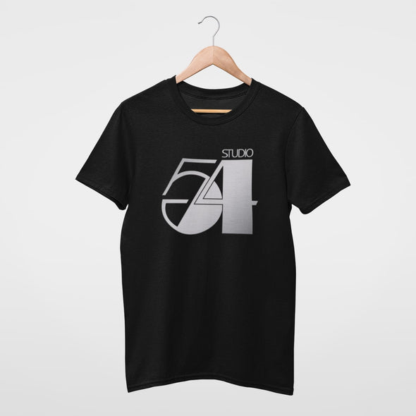 Black t-shirt on a wooden hanger featuring a 'Studio 54' disco logo design in metallic silver.