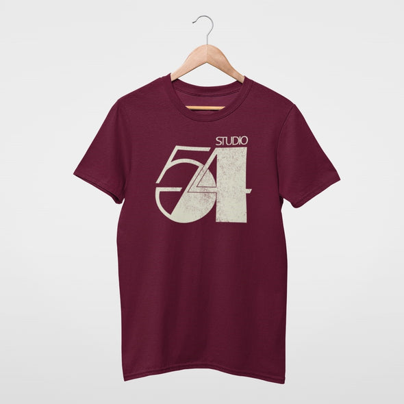 Burgundy t-shirt hanging with a 'Studio 54' logo design print in stone colour.