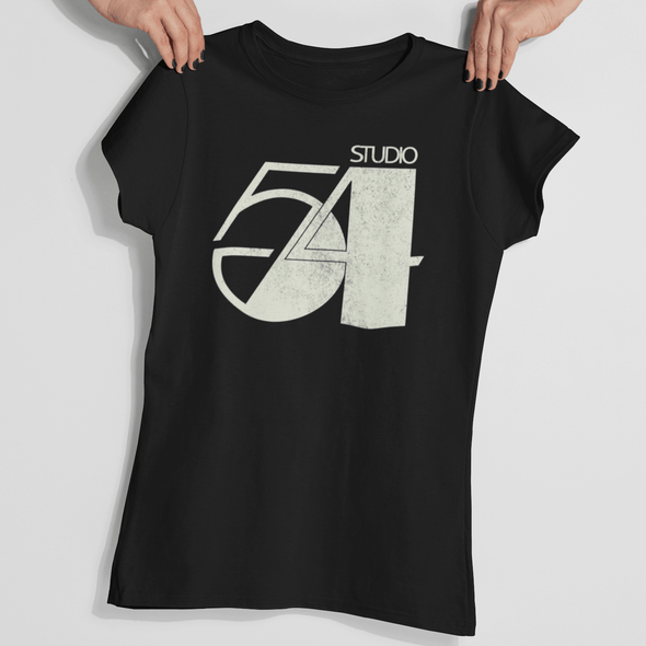 Womans hands holding a 70s style black t-shirt with 'Studio 54' retro slogan design in stone white.