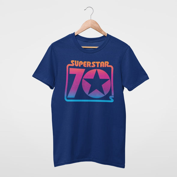 ROYAL BLUE T SHIRT WITH RAINBOW COLOUR SEVENTIES RETRO GRAPHIC