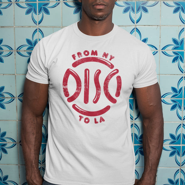 N Y to L A - Organic - Slim fit T-shirt - White - Mens