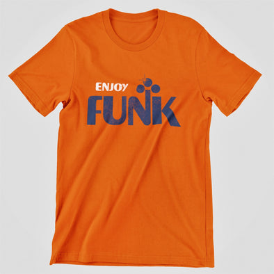 Bright orange ladies crew t-shirt laid flat with 'Enjoy Funk' retro style slogan print in blue and whte.