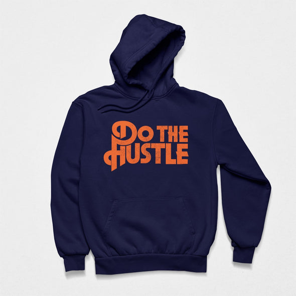 Navy men hoodie laid flat with bright orange retro style slogan print 'Do The Hustle'.
